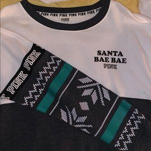 Pink Santa bae bae crewneck pullover sweater